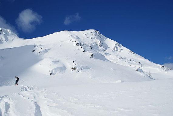 Knapp unterhalb des Seebachtörls, nach rechts der Gratverlauf zum Gipfel