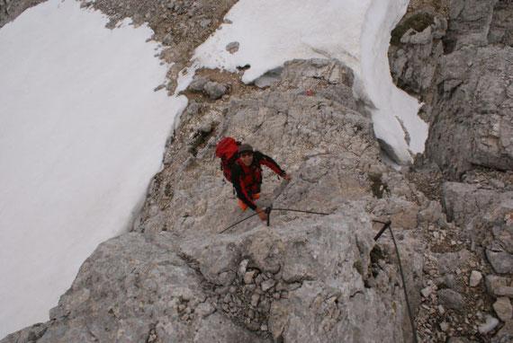 Kletterstelle kurz vorm Gipfel