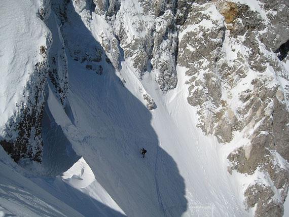 Der steile Ausstiegsbereich