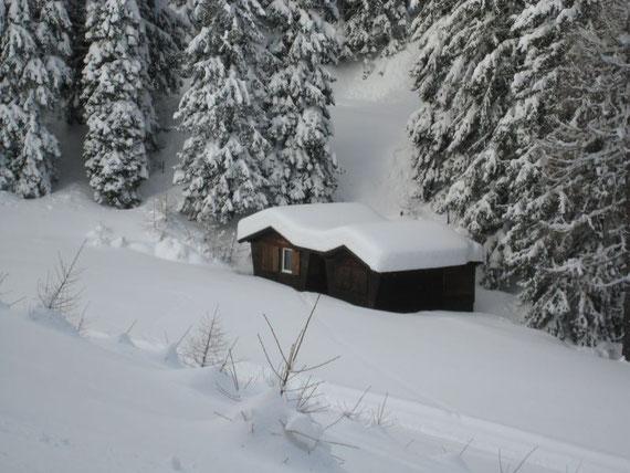 Zum Vergleich wieder die gleiche Hütte wie oben