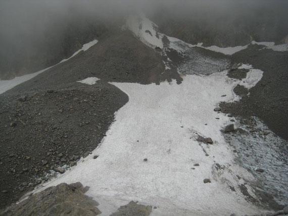 Der sehr gut mit Schnee bedeckte Eisscheitel