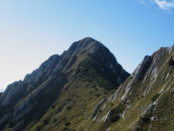 Die Querung im steilen Südhang zum Spitzegel