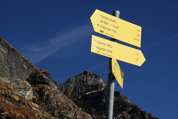 Wegweiser in 2680m, im Hintergrund die Geißl