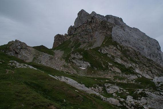 Blick zum felsigen Gipfelaufbau des Hochweißstein