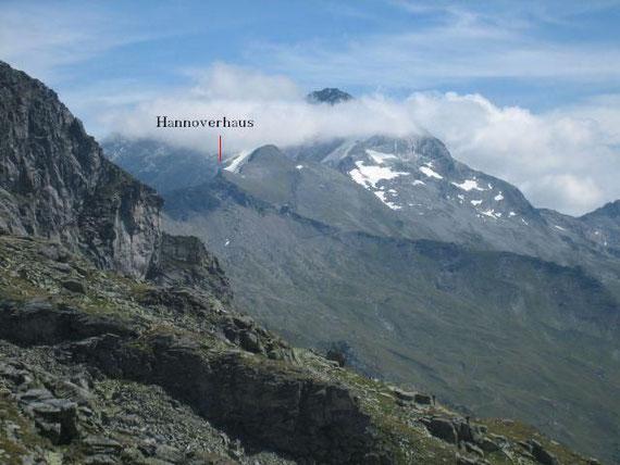 Der Ankogel und das Hannoverhaus, aufgenommen von der Mindener Hütte