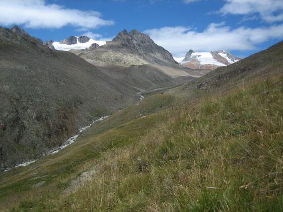 Der Blick zurück Richtung Vernagthütte (ganz klein in der Bildmitte), rechts die Vorgipfel der Hochvernagtspitze, in der Bildmitte die Hintergraslspitze (3325m) und links daneben der Fluchtkogel (3500m)
