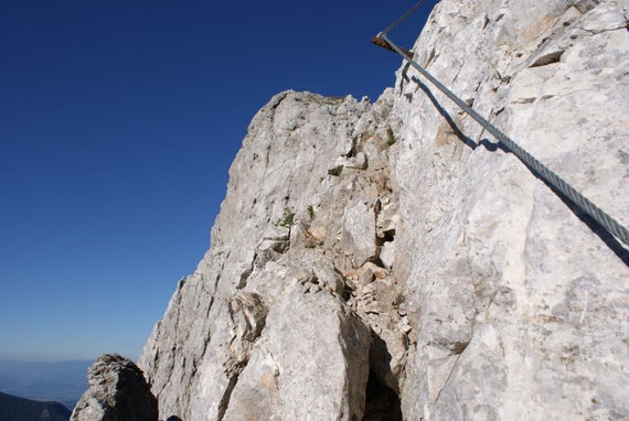 Der Gipfel kurz vorm Ende des Klettersteiges aus aufgenommen