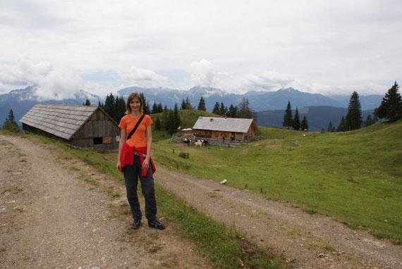 Bei der Jadersdorfer Ochsenalm, im Hintergrund die Karnischen Alpen