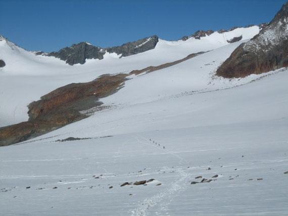 Im unteren flachen Teil des Gletschers