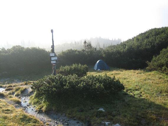 Unser 2. Zeltplatz, die ersten Sonnenstrahlen nach 2 Tagen im Hochnebel