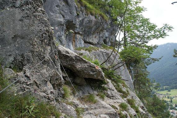 Beim Beginn des BGV-Rundklettersteigs, hier treffen sich die beiden Abstiegsvarianten