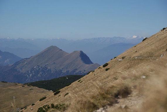 In der Südwestflanke des Weinasch, im Vordergrund der Kahlkogel, rechts wieder die Hochalmspitze und ganz links der Glockner