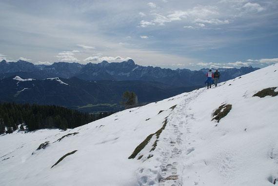 Kurz nach der Abzweigung vom Fahrweg zur Dobratsch Südseite mit Blick in die Julischen Alpen