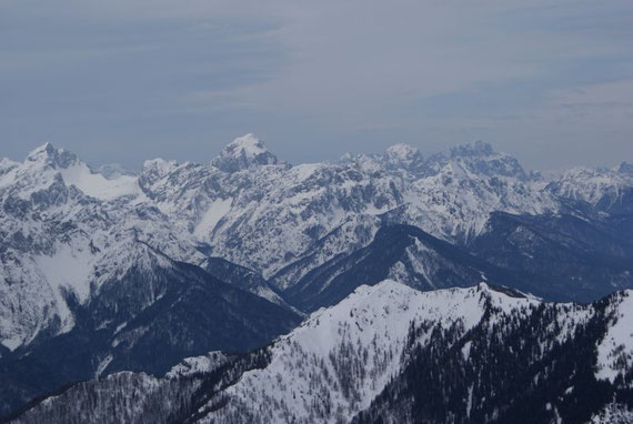 Das Panorama ist schon hier wunderschön; Blick zum Jalovec, Kotsattel und Mangart (Bildmitte)