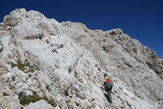 Die letzten 150 Höhenmeter knapp unter dem Grat zum Gipfel (Bildmitte oben)