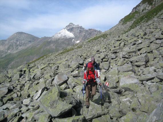 Der Blick zurück nach Westen auf die Vordere Geißel (2974m)