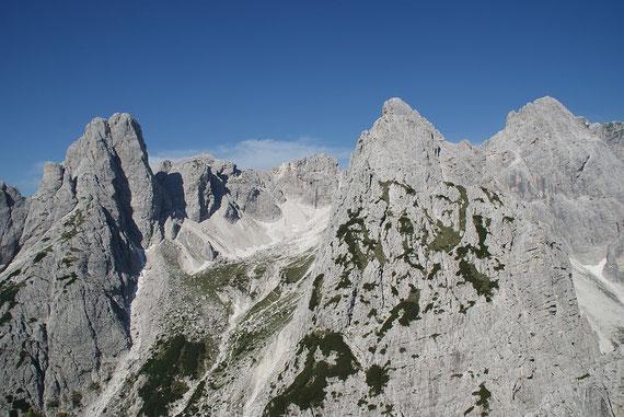 Der Blick zu den wunderschönen Cime Piccole di Riobianco (links der Bildmitte)