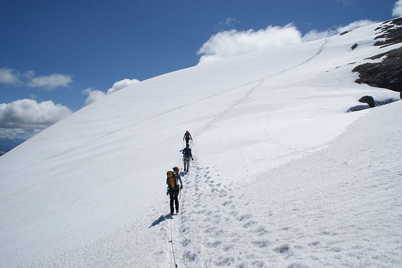 Firnfeld zum Gipfel hin, wir haben das Seil mit und seilen uns deshalb auch hier an