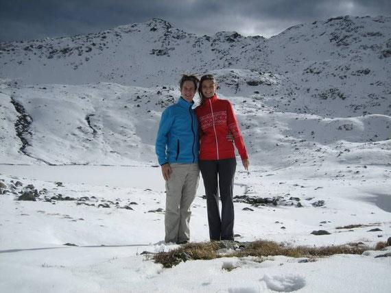 Mit der besten Begleitung die es gibt beim zugefrorenen Feldsee in nicht ganz 2300m