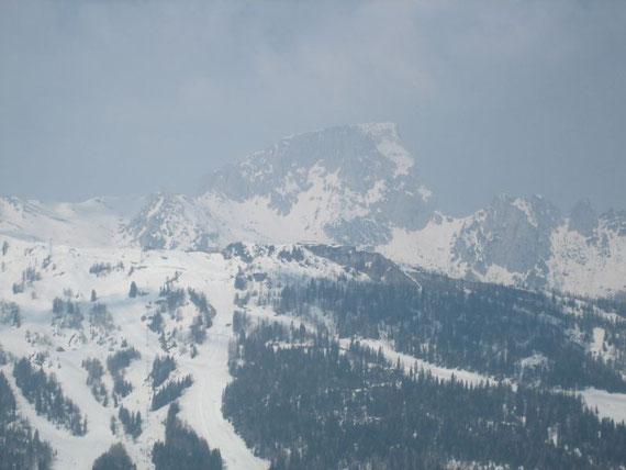 Blick nach Westen zum Trogkofel (2280m)
