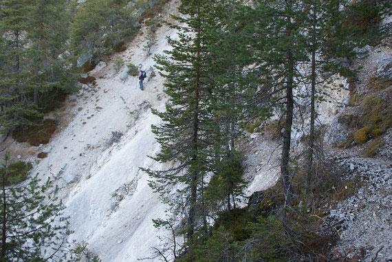 Eine steile Querung beim Aufstieg