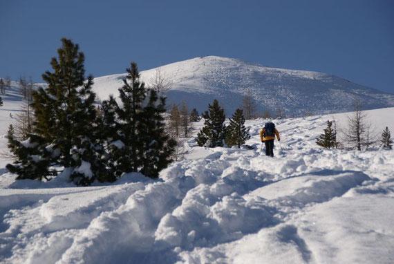 Aufstieg über den sanften Rücken zum Gipfel