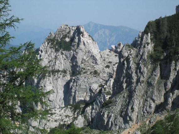 Etwas Höher wird der Blick nach Nordwesten hin frei und es zeigt sich der Dobratsch (2167m)