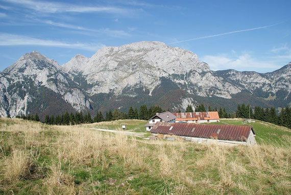 Auf der schönen Malga Glazzat alta; im Hintergrund erhebt sich der Roßkofel