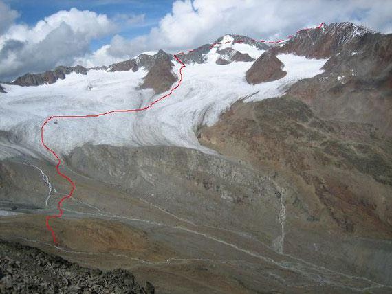 Aufstiegsroute auf die Wildspitze über den Vernagtferner