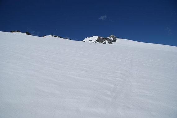 Die letzten Meter am Gletscher, im Hintergrund ist bereits der Ankogel zu erkennen