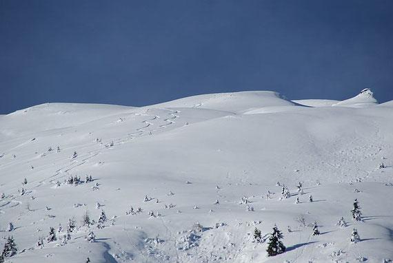 Der breite und lange Gipfelhang kommt ins Blickfeld