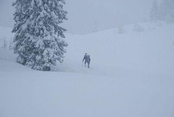 Knapp unter der Roßtratte bei dichtem Schneefall