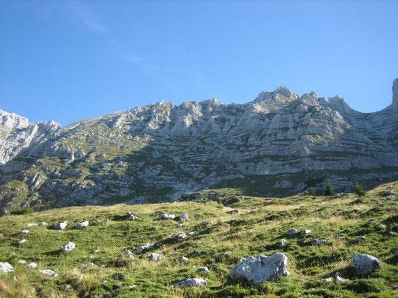 Über diese steilen Grasbänder führt der Steig hinauf zum Gipfel