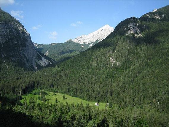 Im unteren Bereich des Aufstieges. Der Blick nach Südwesten zum Vrisic- Pass (1611m) und der Mala Mojstrovak (2332m)