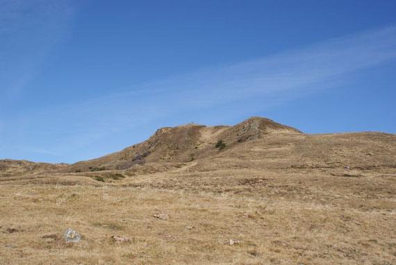 Über Almwiesen geht es auf den Gipfel