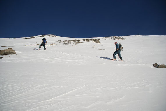 Aufstieg in der Gipfelflanke