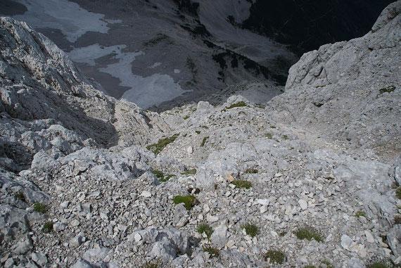 Vom Mlinarsko sedlo der Tiefblick über die Abstiegsroute hinunter ins Kar