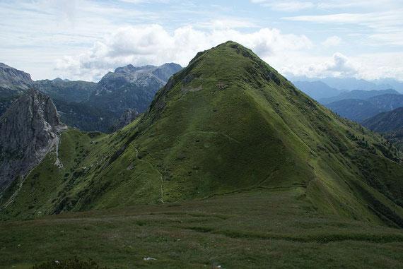 Beim Abstieg der Blick zum  Monte Pizzul, welcher von zahlreichen italienischen  Laufgräben aus dem  1. Weltkrieg durchzogen wird.