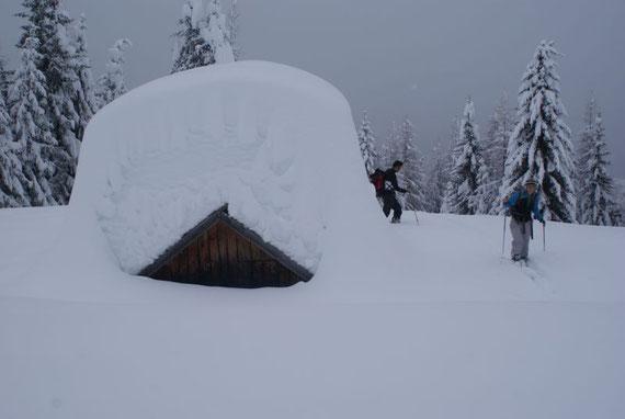 In knapp über 1600m steht diese Hütte, der Schnee türmt sich hier weit über 2m hoch!