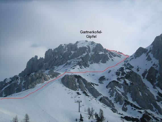 Aufstiegsroute auf den Gartnerkofel. Hier im Bild der letzte Pistenabschnitt und die Querung