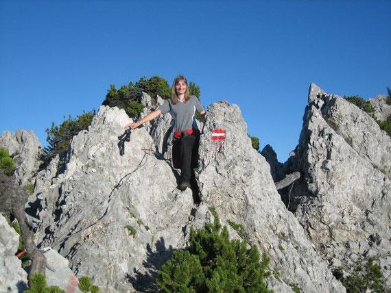 Die letzten Meter zum Gipfel bei traumhaftem Wetter am 31.8.2006