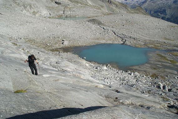 Aufstieg über die glatten Felsen über dem Unteren Preimlsee