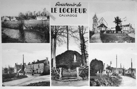 Carte postale datant de cette époque (les autres photos sont contemporaines et proviennent de Google). En bas à gauche, on distingue l'enseigne de l'épicerie droguerie ...; en bas à droite, on voit au fond l'échoppe de la boucherie (à droite de la photo)
