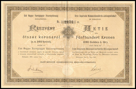 The share of the First Hungarian Sewing Machine Factory for 500 crowns
