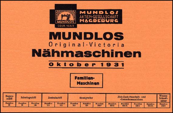 1931 MUNDLOS FAMILY MACHINES