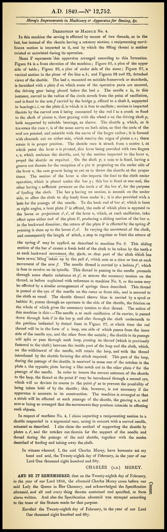 GB 12.752/1849  Description of Machine No. 4