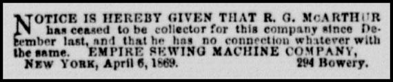 April 1869 - 294 Bowery N.Y.