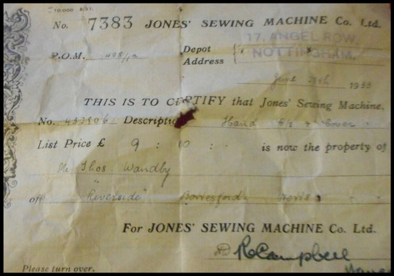 Bill of Sale - Jones # 432.806 - (June 28th 1933)