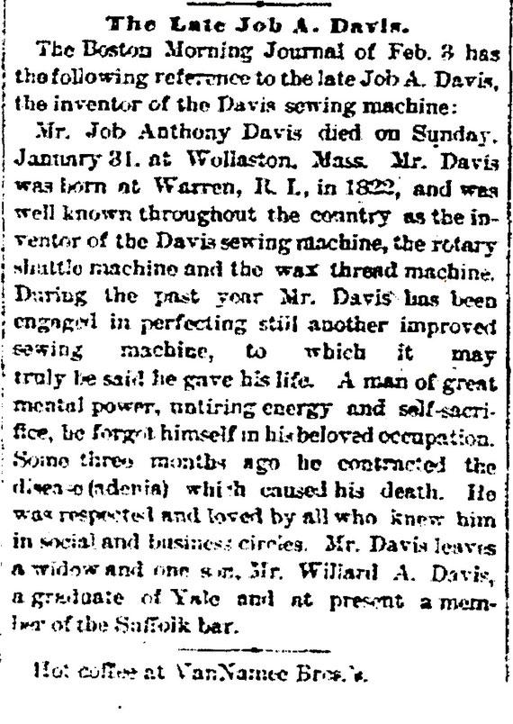 1886  Job Anthony Davis Obituary