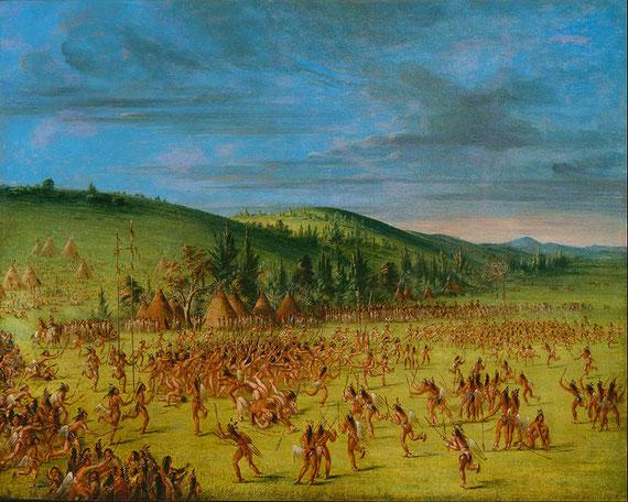 """Gemälde von George Catlin: Choctaws beim Ballspiel, von den Weißen """"Lacrosse"""" genannt."""